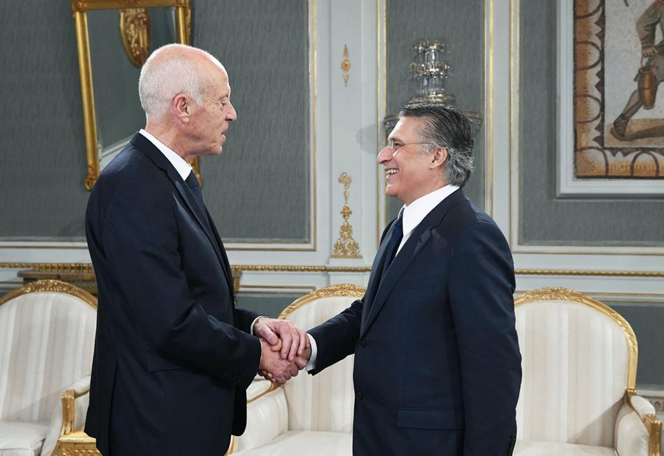 استقبل رئيس الجمهورية قيس سعيّد بقصر قرطاج، نبيل القروي رئيس حزب قلب تونس